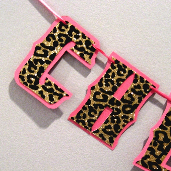 Items similar to cheers bitches banner cheetah leopard glitter print bachelorette party bridal - Cheetah print centerpieces ...