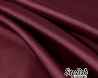 "60"" Burgundy Charmeuse Satin Fabric by the Yard, Charmeuse Fabrics, Charmeuse Satin, Bridal Wedding Satin Fabric- 1 Yard Style 2800"