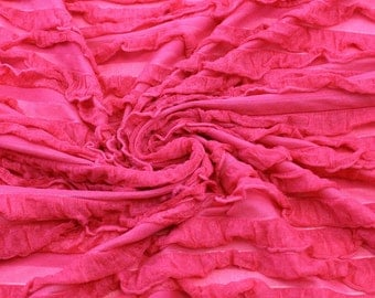 Hot Pink Ruffle Knit Stretch Fabric by the yard- 1 Yard Style 6217