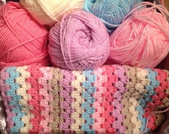 Granny stripe crochet blanket kit 'Sherbet' - pink and blue - various sizes