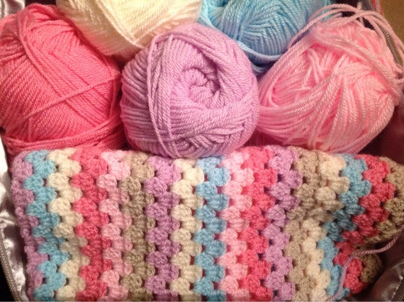 Complete Kit To Make A Crochet Granny Stripe Blanket Pastel Pink