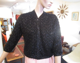 Vintage Black on Black Wool Beaded Cardigan Sweater, Cyn Les, Hong Kong, ca Early 1960s
