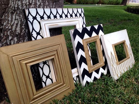 Wedding Gifts For USD200 : 5x7, 4x6 wedding photo frames black, white, & metallic gold gift ...