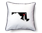 Maryland Pillow - 18x18 - Maryland Map - Personalized Name or Text Optional - Wedding - Housewarming Gifts
