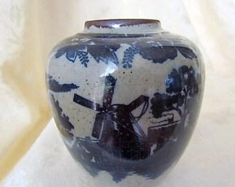 Vintage, Pottery, Takahashi, Japan, Vase, Jar, Cobalt, Blue, Sailboats,  and Windmills Scene Stoneware, Ceramic