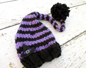 Bewitched Purple and Black Elf Baby Hat Size Newborn to 12 months  Knitted Baby Hat  Photo Prop Witch Halloween