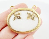 Unusual White Jade Stone Pendant Connector - Oval Smooth - 22k Matte Gold plated Bezel - 1pc