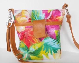 Leather crossbody bag or shoulder bag in tropical floral.
