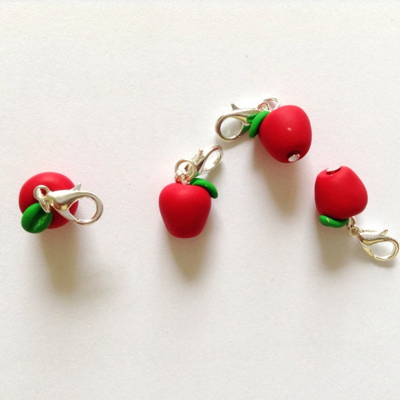 Crochet Stitch Markers Uk : ... stitch markers: red apple stitch markers for crochet, row markers -UK