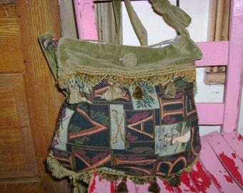 Handbag, Purse ...Tapestry & Velvet  w/Lining and pocket Handbag/Purse