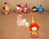 Vintage 1960's - 1970's Christmas Ornaments - Perky Partridge and Cool Elf