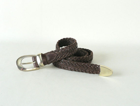 womens vintage braided brown leather belt size by