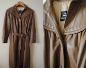 Vintage Leather Trench Coat- Brown Leather Dress Coat, Brown Flair Jacket, Heavy Leather Coat