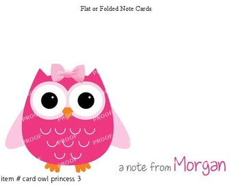 Girl Pink Owl Note Cards Set of 10 personalized flat or folded cards