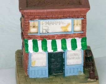 DMu653 - 1991 Hand-Painted Miniature Building, Americana Collection, Geller's Pharmacy