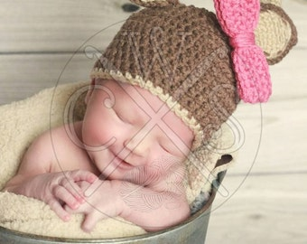 Crochet Boys or Girls Deer Hat with Antlers and Colorful Customizable Bow! Best Seller!
