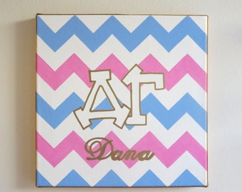 hand painted personalized Delta Gamma letters outline with chevron background 12x12 canvas OFFICIAL LICENSED PRODUCT