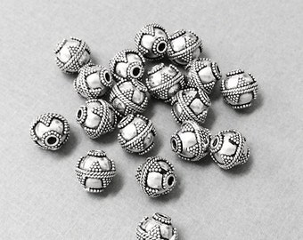 10mm Bali Beads Oxidized Antiqued Sterling Silver 2 Pcs, 925 Sterling Silver - VJ59S