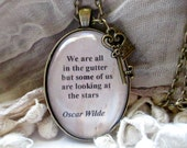 Oscar Wilde handmade pendant quote necklace, vintage style