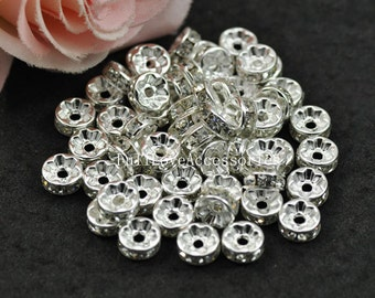 50pcs 8mm Silver Plated Crystal Rhinestone Spacer Wheel Rondelles Bead charms - for earring/necklace/bracelet stone connectors spacers