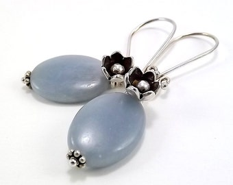 Sterling Silver Earrings - Angelite with Flower Charms