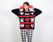 Vintage Tacky Christmas Sweater 1980s 80s Xmas Jumper Hearts Bows Holiday Pullover Ugly Sweater Party Red White Black Knit M Medium L Large