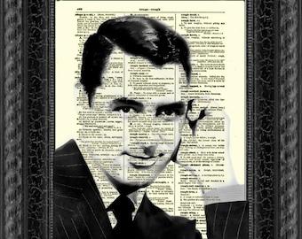 Cary Grant Dictionary Art Print, Cary Grant Art, Wall Decor, Dictionary Page Art, Mixed Media Digital Collage