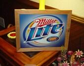 Miller Lite Beer Label retro custom framed cedar 15X18 metal vintage bar sign oak finish country rustic wall display
