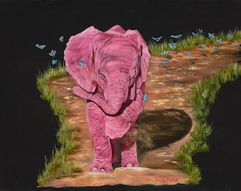 "Butterfly Friends 8"" x 10"" Print - 11"" x 14"" with matting. Pink Elephants"