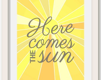 Here Comes the Sun, Beatles Lyric Printable