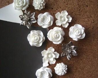 Pretty Thumbtacks, White Push Pins, 12 pcs Pushpins, Bulletin Board Tacks, White Wedding Decor, Gifts, Housewarming Gift