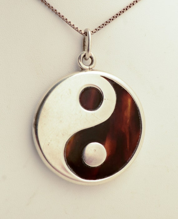 Yin yang tortoise shell sterling pendant on by hearthsidehome for Real tortoise shell jewelry