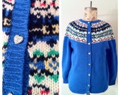 Vintage Nordic Print Shetland Wool Sweater with Heart Buttons Size S