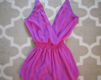 Camille    V-neck Gold Trim (Back) Spaghetti Strap Swimsuit Cover Up    Orchid