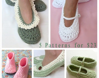 Crochet Pattern Sale, 5 Patterns, Women s Slipper Patterns, Wedding Reception Shoes, Loafer, Mary Jane, Slipper Boots