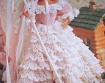 Crochet Barbie Fashion Doll Pattern LITTLE BO PEEP Costume ~ Gorgeous Ruffled Gown