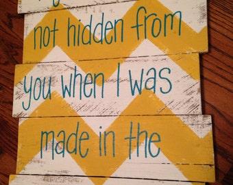 Wood pallet art wall decor-  Chevron Psalm 139:15