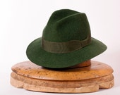 Mens hat / green felt winter autumn wide brim hat fedora trilby hat