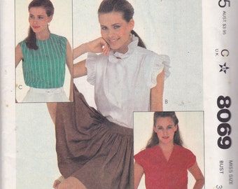 McCalls 8069 Vintage Pattern Womens Button Up or Pull Over Top Size 8 UNCUT