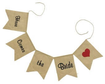 "Burlap Banner ""Here Comes the Bride"" Banner Rustic Theme Wedding"