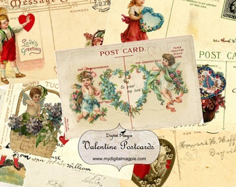 vintage valentine postcard digital collage sheet printable ATC tag for instant download on valentine's day