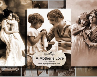Mothers Day digital collage vintage antique photograph printable child sepia atc background 2.5 x 3.5 ACEO instant download craft image