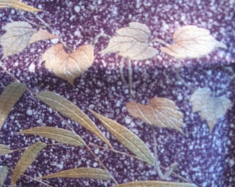 SF1155  Vintage Japanese Silk Fabric with Purple Splatter Designs and Leaves