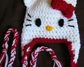 Reserved for Jen.Crochet Hello Kitty Hat with ear flaps, Adult size.. Excellent Gift idea
