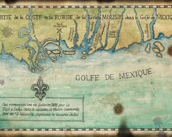 Golfe de Mexique c1699 Map Artwork 11x17+, Gulf of Mexico, Mississippi Coast, Florida Maps, Mobile Bay, Mississippi River, Louisiana Coast