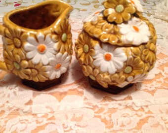 Cream and Sugar Bowl Set White Daisies By Fred Roberts Co Japan