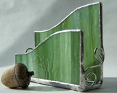 Stained glass business card holder - green glass, silver patina,gifts under 25, new business gift, desk organizer, moss glass, olive glass