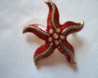 Vintage Unsigned Red/Rhinestone Starfish Brooch/Pin