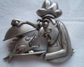 Vintage Signed JJ Silver pewter Chefs Surprise Brooch/Pin sold As I2