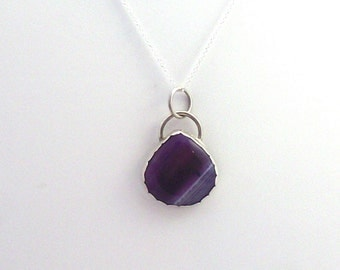 Purple Agate Pendant on Sterling Silver Chain, silver pendant, agate pendant, pendant and chain, silver chain, purple banded agate